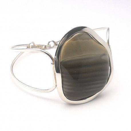 Bransoleta srebrna z krzemieniem pasiastym