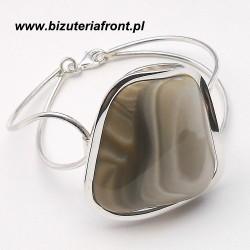 Bransoletka srebrna z krzemieniem pasiastym srebro 925