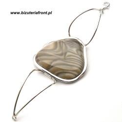 Bransoletka ze srebra z krzemieniem pasiastym srebro 925